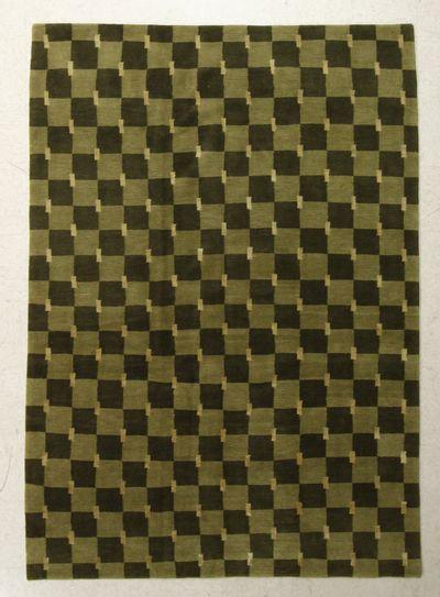 Dark Olive Green Modern Rug #7635 • 6′0″ x 8′3″ • Wool on Silk
