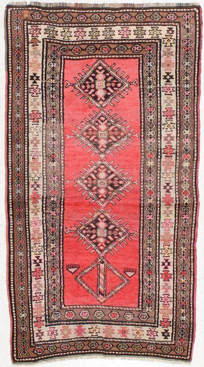 PINK Kazak Rug #898 • 4′1″ x 7′3″ • 100% Wool