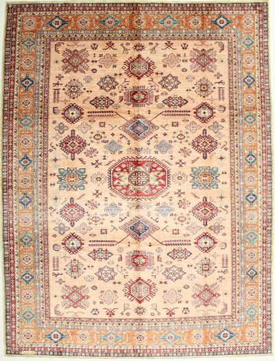 PINK Kazak Rug #1381 • 9′10″ x 12′11″ • Wool on Cotton