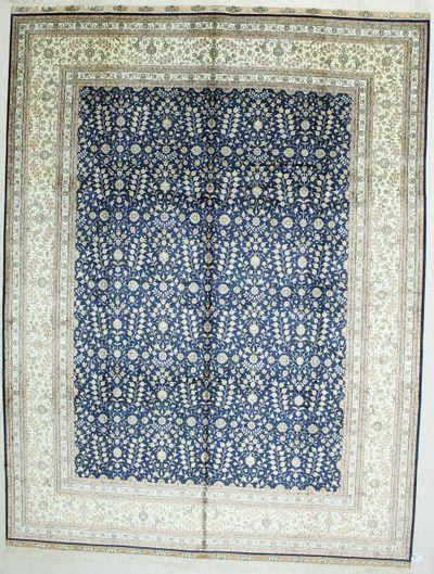 Blue Signed Silk Rug #500 • 9′0″ x 12′0″ • 100% Silk