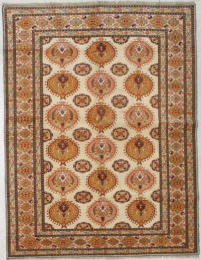 Ivory SILK Rug #1674 • 3′1″ x 5′2″ • 100% Silk