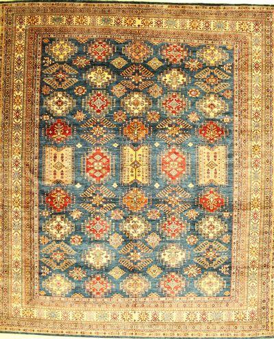 Blue Kazak Rug #1227 • 10′7″ x 12′7″ • 100% Wool