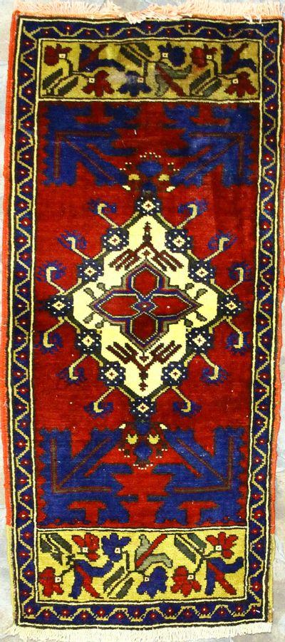 Red Konya Rug #912 • 1′11″ x 4′1″ • 100% Wool