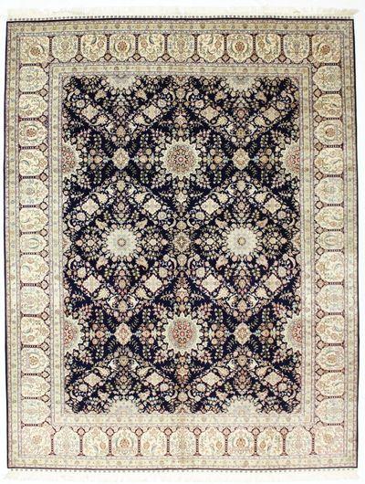 NAVY Cezaevi Rug #8609 • 9′2″ x 11′9″ • 100% Silk