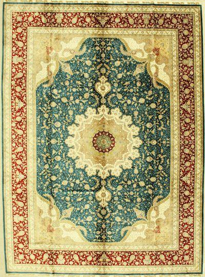 LT BLUE Cezaevi Rug #1327 • 8′6″ x 11′7″ • 100% Silk