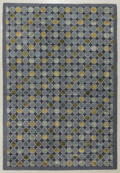 Blue Modern Rug #7656 • 6′1″ x 9′0″ • Wool on Silk
