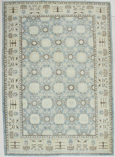 Light Blue Ariana Rug #1961 • 6′0″ x 8′6″ • 100% Wool