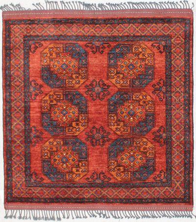 Red Ensari Rug #2437 • 4′11″ x 5′0″ • 100% Wool