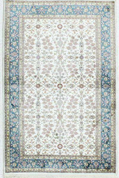 White Signed Silk Rug #1121 • 2′8″ x 4′0″ • 100% Silk