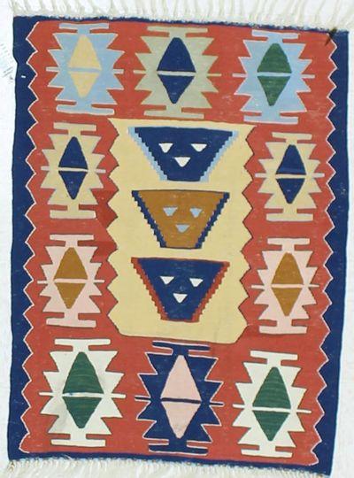 Multicolor Kilim Rug #877 • 2′9″ x 3′7″ • 100% Wool