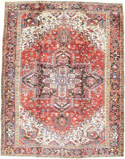 Red Heriz Rug #6733 • 9′2″ x 11′10″ • 100% Wool