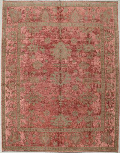 Rust Ushak Rug #1431 • 9′0″ x 11′7″ • Wool on Silk