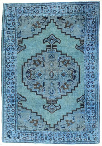 Blue Over Dyes Rug #7254 • 6′3″ x 9′2″ • Wool on Cotton