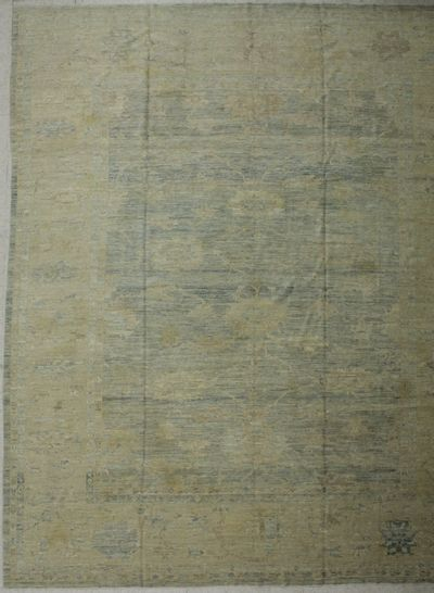 Light Blue Ushak Rug #967 • 11′6″ x 13′10″ • 100% Wool