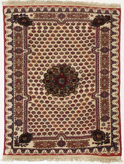 beige Musmani Rug #1596 • 4′8″ x 6′0″ • 100% Wool