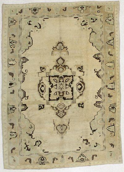 beige Konya Rug #2066 • 5′5″ x 7′7″ • 100% Wool