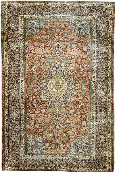 Red Kayseri Rug #7328 • 4′7″ x 7′0″ • Silk on Cotton