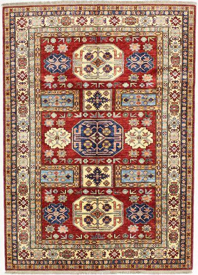 Red Kazak Rug #1715 • 5′8″ x 7′11″ • 100% Wool
