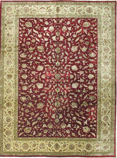 Red Silk Flower Rug #8204 • 10′0″ x 13′7″ • Wool on Silk