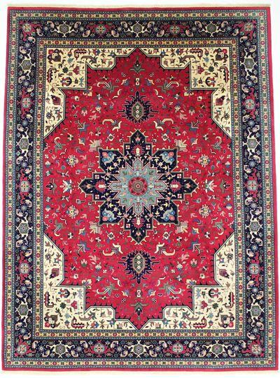 Red Tabriz Rug #805 • 8′9″ x 11′10″ • Wool on Cotton