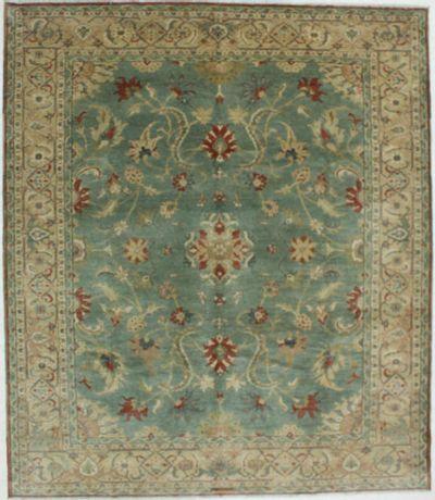 Light Green Karaman Rug #614 • 8′4″ x 9′8″ • 100% Wool
