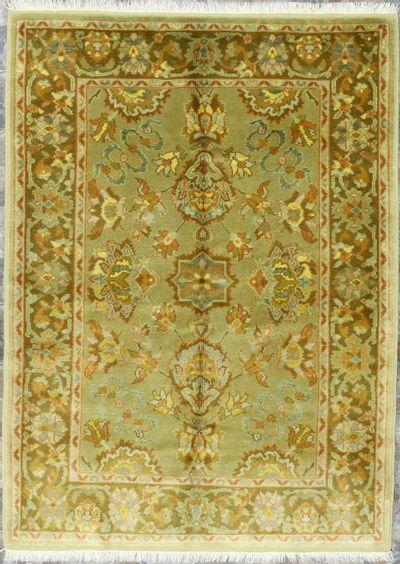 Green Ushak Rug #376 • 5′0″ x 6′11″ • 100% Wool