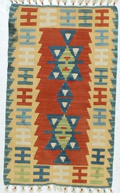 Red Kilim Rug #849 • 2′0″ x 3′2″ • 100% Wool