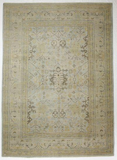 Light Blue Ushak Rug #8734 • 8′10″ x 12′2″ • Wool on Cotton