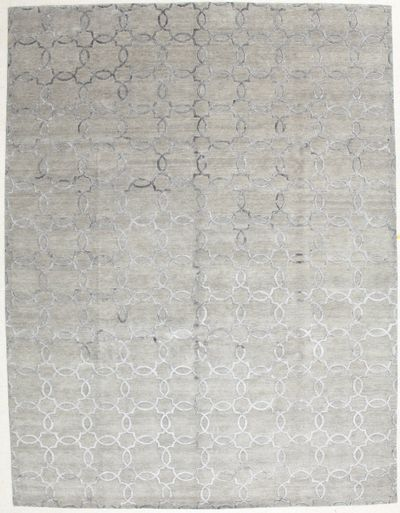 Gray Contemporary Rug #2809 • 9′2″ x 12′0″ • Wool on Silk