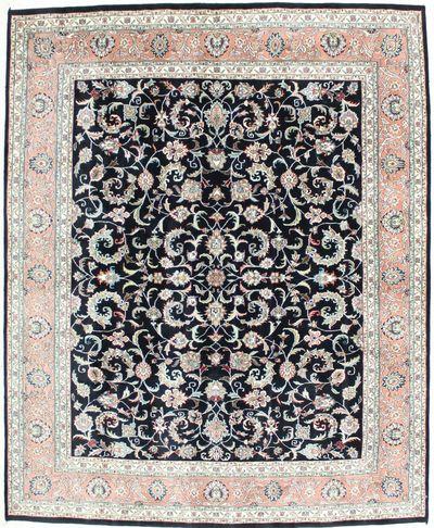 Black Tabriz Rug #1359 • 8′0″ x 9′11″ • 100% Wool