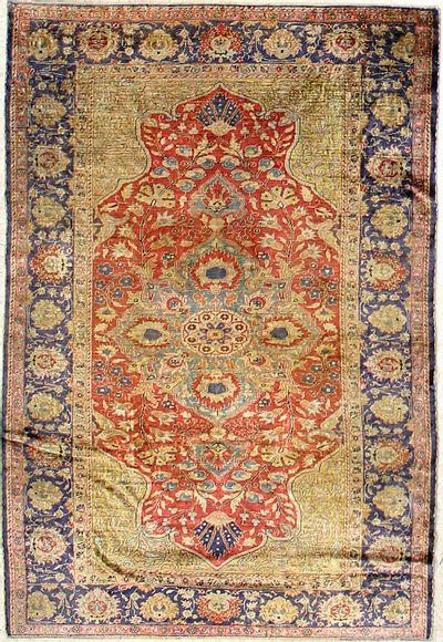 Red Kayseri Rug #7327 • 3′10″ x 5′8″ • Silk on Cotton