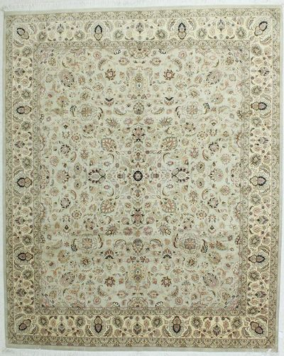Light Blue Mashad Rug #254 • 8′4″ x 9′11″ • Wool on Cotton