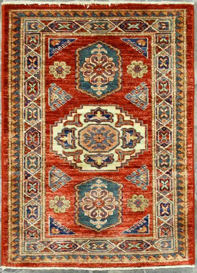 Red Kazak Rug #1415 • 2′1″ x 2′11″ • Wool on Cotton