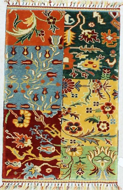 Multicolor Patchwork Rug #876 • 2′8″ x 4′0″ • 100% Wool