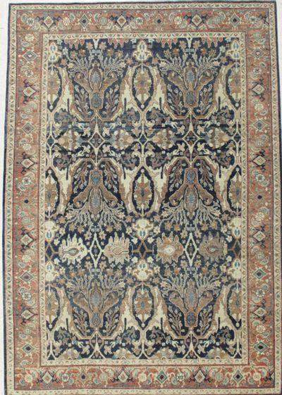 NAVY Ushak Rug #8251 • 6′3″ x 8′11″ • 100% Wool