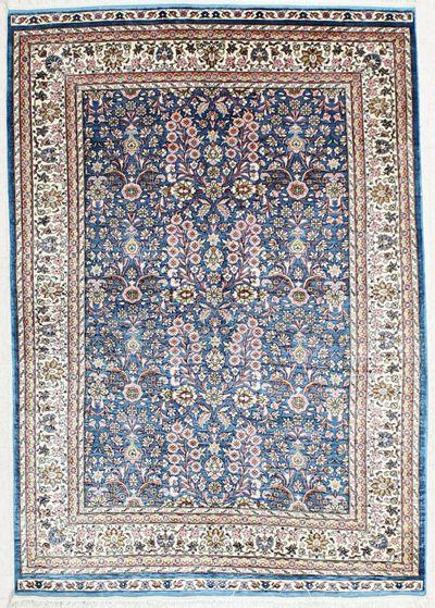 Light Blue Kayseri Rug #2374 • 3′11″ x 5′8″ • 100% Silk
