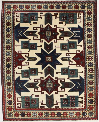 Ivory Caucasian Rug #1437 • 5′10″ x 7′3″ • 100% Wool