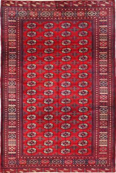 Red Bokhara Rug #2772 • 6′1″ x 9′0″ • 100% Wool