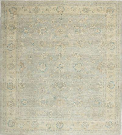 Green Ushak Rug #7138 • 8′1″ x 9′0″ • 100% Wool