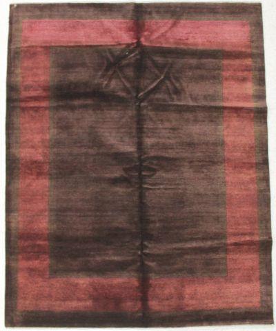 Brown Modern Rug #8599 • 6′7″ x 8′3″ • Wool on Cotton