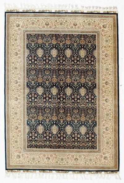 Blue Cezaevi Rug #8647 • 4′7″ x 6′5″ • 100% Silk