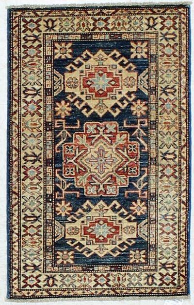 Blue Kazak Rug #475 • 2′0″ x 3′0″ • 100% Wool