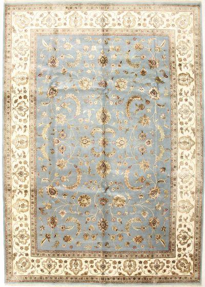 LT BLUE Silk Flower Rug #811 • 10′0″ x 14′3″ • Wool on Silk