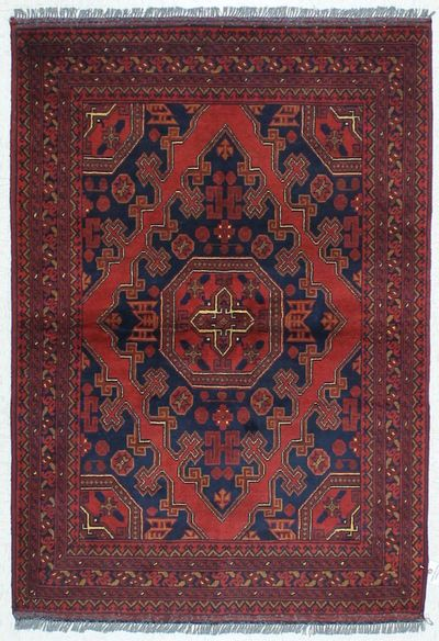 Red Kunduz Rug #453 • 3′5″ x 4′10″ • 100% Wool