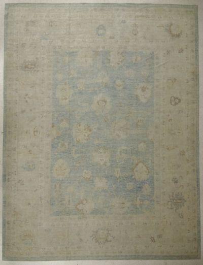 LT BLUE Ushak Rug #8055 • 12′6″ x 16′4″ • 100% Wool