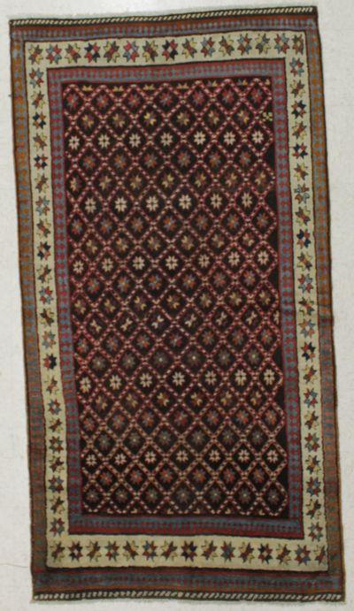 Brown Kazak Rug #8544 • 3′9″ x 7′2″ • 100% Wool