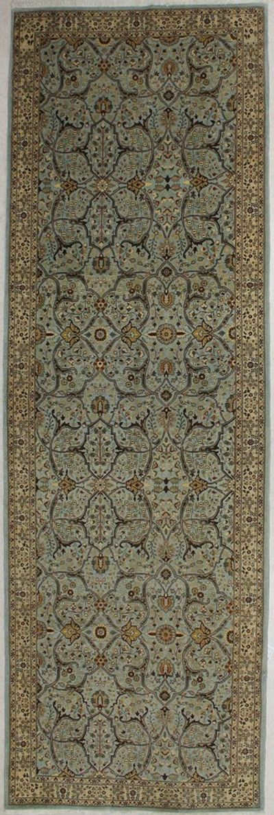 LT BLUE Tabriz Rug #7589 • 4′3″ x 13′0″ • 100% Wool