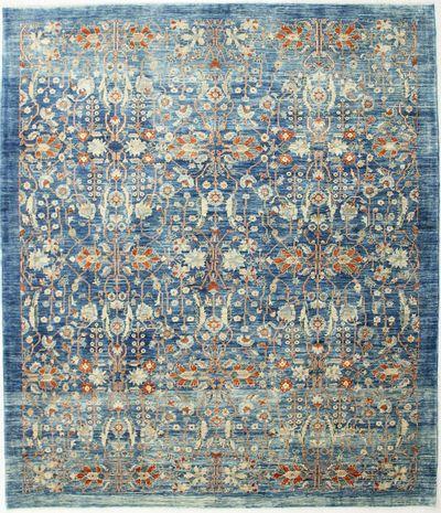 Light Blue FARYAB Rug #2430 • 8′3″ x 9′6″ • 100% Wool
