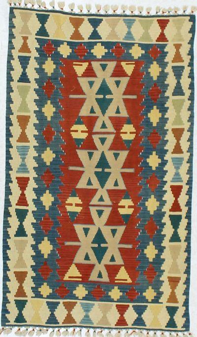 Red Kilim Rug #850 • 3′3″ x 5′7″ • 100% Wool