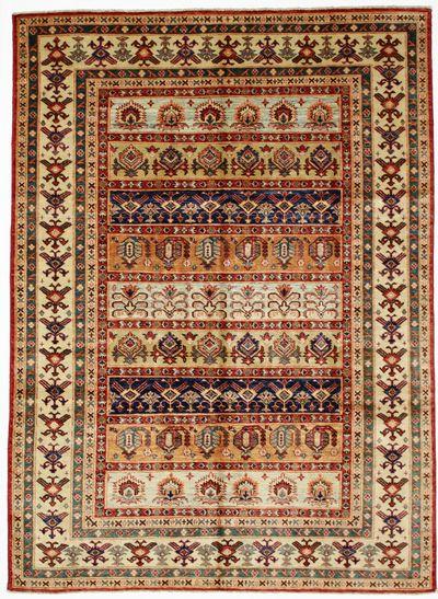 Ivory Kazak Rug #7395 • 5′8″ x 7′9″ • 100% Wool
